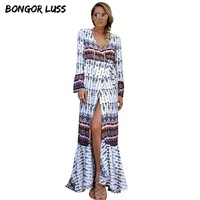 Maxi Dress New Fashion V-Neck Long Flare Sleeve Floor-Length Beach Summer Dress Hot Loose