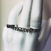 Double Finger Chains Ring, adjustable, rocker, connector ring