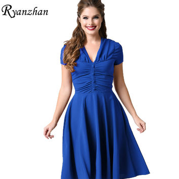 Audrey Hepburn Style Retro 50s Dress Short Sleeve Slim Vintage Dress Women Robe Pinup Rockabilly Dresses Plus Size Summer Dress