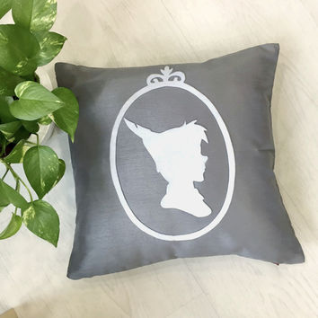 Color Choice. Peter Pan Cameo Decorative Grey Pillow Cover. Neverland Peterpan Nursery 16inch Cushion Cover Pillow Case. Boys Room Decor