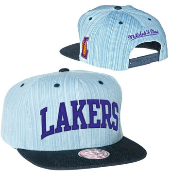 dc1b36842bf Mitchell   Ness Los Angeles Lakers Striped Denim Arch Two-Tone A