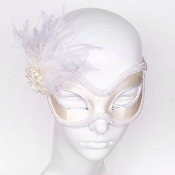 Cream And White Bridal Masquerade Mask With Flower, Pearls And Feathers - Venetian Style Wedding Mask With Crystal Rhinestones