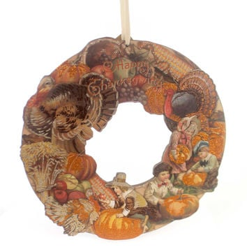 Thanksgiving VINTAGE THANKSGIVING WREATH Wood Primitive Holiday Autumn 30320