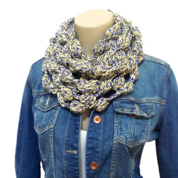 Scarf, Infinity Scarf, Yellow and Blue, Scarf, Striped, Crochet Infinity Scarf, Chunky Circle, Striped Cowl, Chunky Crocheted Cowl in Blue