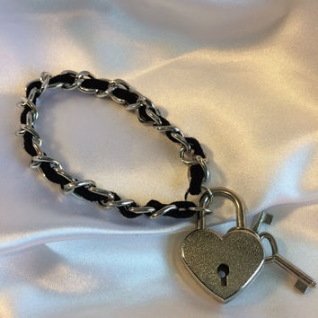 Suede Leather and Metal Chain submissive Day BRACELET/CUFF with choice of 10 Locking Padlock colors & 23 suedes