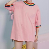 RAINBOW STRIPE RINGER TOP