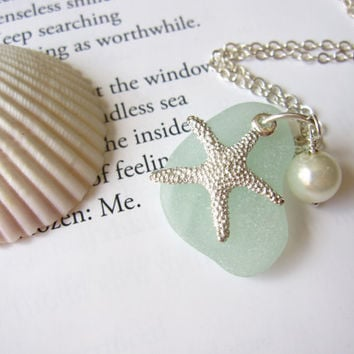 Seafoam Seaglass Pendant with fresh water pearl pearl & Starfish - Nautical gift for sisters, girlfriends or beach lovers FREE SHIPPING