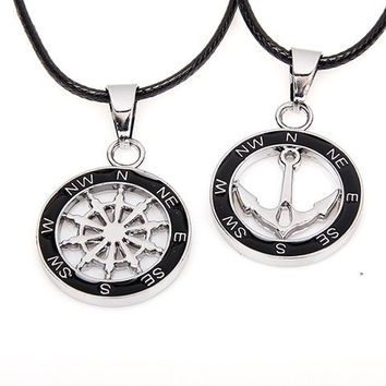 2PCS of Anchor and Helm Patterned Pendant Necklaces