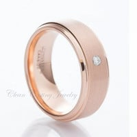 Rose Gold White Diamond Tungsten Ring,Wedding Ring,Mens Tungsten Ring,Diamond Ring,Sating FInish,8mm (30 Letters Free Engraving)
