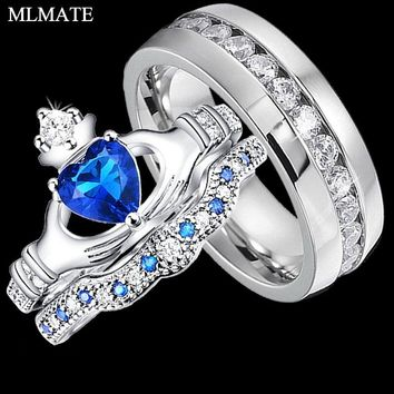 Womens Claddagh Irish Heart-cut Crown Ring Sets Mens Stainless Steel Wedding Band Ring Couple Jewelry