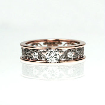 0.31ct Diamond engagement ring, filigree ring, rose gold engagement, trinity, diamond wedding, anniversary, unique
