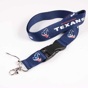 Houston Texans 55cm Neck Strap American Football Team Logo Lanyards for iPhone USB mp3 mp4 Camera Cell Phone Lanyard 1pc
