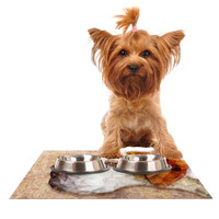 """Ancello """"Abstract Beagle"""" Brown Geometric Dog Place Mat"""