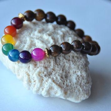 7 Chakra bracelet-beaded yoga jewelry- wrist mala-tiger eye