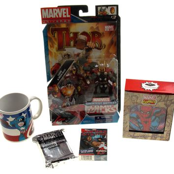 Marvel Universe Super Hero Collector Set Thor Captain America Light Up Coasters