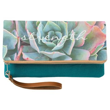 """""""Strength"""" pink & green cactus photo folded clutch"""