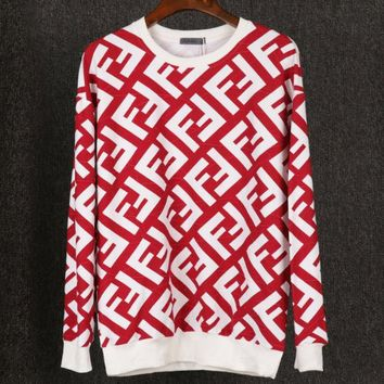 Fendi Autumn And Winter New Fashion More Letter Print Women Men Big Size Long Sleeve Sweater Top Red