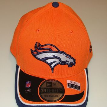 New Era Hat Cap NFL Football Denver Broncos New Era On-Field 39THIRTY Flex M/L
