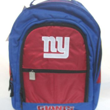 NFL NWT EMBROIDERED XL ADULT 3 COMPARTMENT BACKPACK - NEW YORK GIANTS
