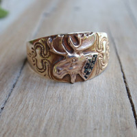 Gents yellow gold Ostby Barton Ring 10k PAP LOOM mans moose fraternity size 11