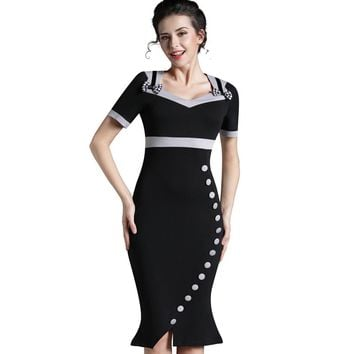 Nice-forever Bowknot Female Work Vintage Dress Women Cotton Tunic Black Short Sleeve Formal Mermaid Buttons Wiggle dress b220