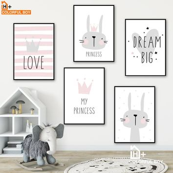 Cartoon Rabbit Dream Big Quotes Wall Art Canvas Painting Nordic Posters And Prints Animals Wall Pictures Baby Kids Room Decor