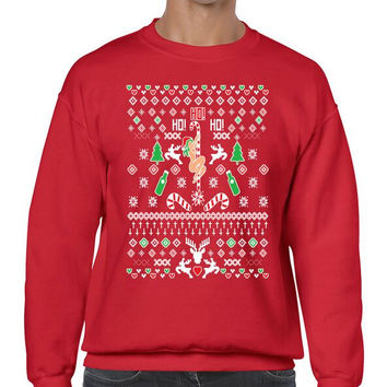 HO HO HO Christmas Dancer Men's Crewneck Sweatshirt  Ugly Christmas Sweater