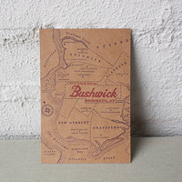 Greetings from Bushwick Letterpress Postcard by pepperpressny