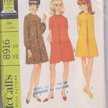 60s vintage pattern for A-line shift dress with front pleat and long or short sleeves misses size 12 McCalls 8916 CUT and COMPLETE