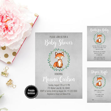 Fox Baby Shower Invitation, Woodland Baby Shower Invitation, Boy Baby Shower Invitation, Rustic Style Invitation, Gender Neutral Baby Shower