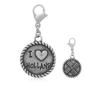 316l Stainless Steel I Love Holland Windmill Floating Dangle Charms With Lobster Clasp Fit Necklace Pendant Jewelry