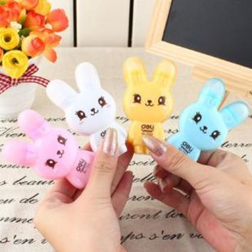 Brand deli 7291 kawaii correction tape  6 meters rubber dual cartoon rabbit tape 1pcs/pack