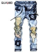 Men's fashion vintage washed holes ripped biker jeans Slim straight stretch denim pants Rock star Distressed jeans Plus size 42