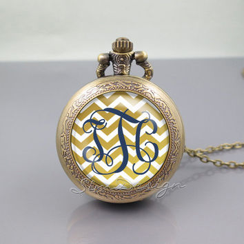 Chevron Monogram Pocket Watch Locket Necklace,vintage gold pendant -ALL Colors Can be changed![Font style,Chevron,Font,Background colors...]