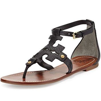 Tory Burch Phoebe Flat Thong Leather Sandal, Black