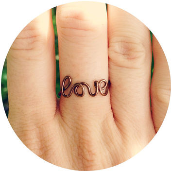 Love Ring, Wire Ring, Word Jewelry, Weddings, Bridesmaids Ring, Cursive Word Ring