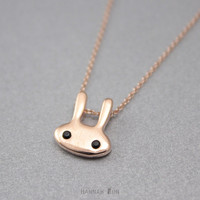 Very cute Bunny, How lovely rabbit, Kawaii necklace, gold necklace