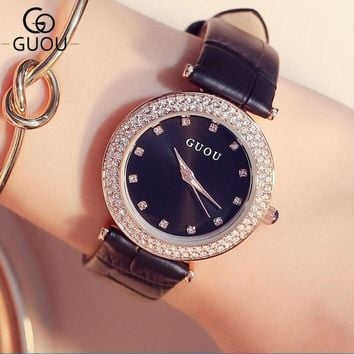 GUOU Luxury Brand Wrist watches Diamond Rhinestone Watch Women Watches Leather Strap Women's Watches Fashion Ladies Clock saat