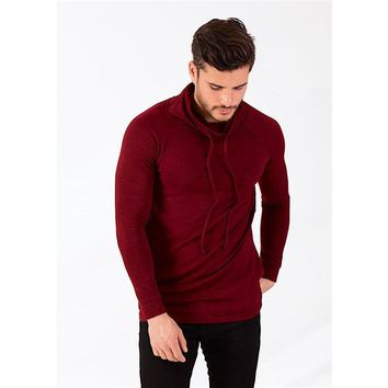 Cardinal Triblend Cowl Neck Hooded Sweater