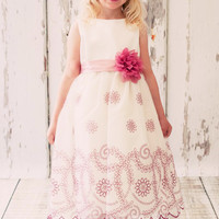 Ivory Organza Dress with Rose Floral Embroidery & Satin Trim (Girls Sizes 2T - 12)