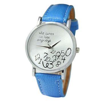 """""""Who Cares I'm Late Anyways"""" Women's Light Blue Creative Fashion Faux Leather Quartz Watch"""