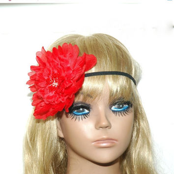 30% OFF SALE Red Bohemian Flower Headband - Red Flower Headband - Big Flower Headband