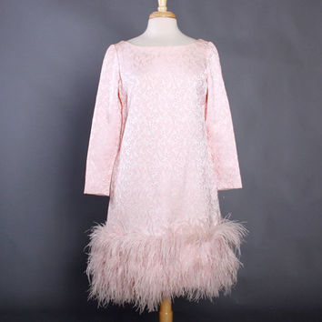 Vintage 60s Cocktail DRESS with Maribou Trim / Pale PINK Brocade 1960s Dress Ostrich Feather Hemline, m - l