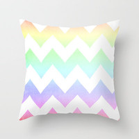 Watercolor Chevrons Throw Pillow by CMcDonald | Society6
