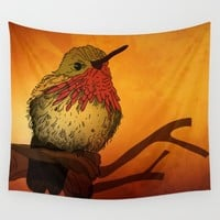 The Sunset Bird Wall Tapestry by Texnotropio