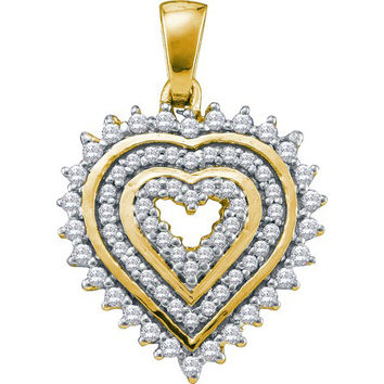 Diamond Heart Pendant in 10k Gold 0.33 ctw