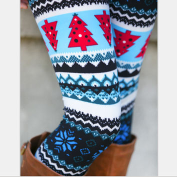 Print Blue Christmas Leggings [9328129092]