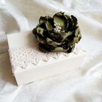Cream ecru rustic wedding rings box with heart box writing handmade flower green vintage wedding cream custom lace