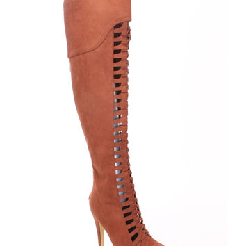 Tan Woven Strappy Thigh High Boots Faux Suede