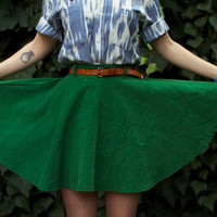 High waisted green corduroy circle skirt